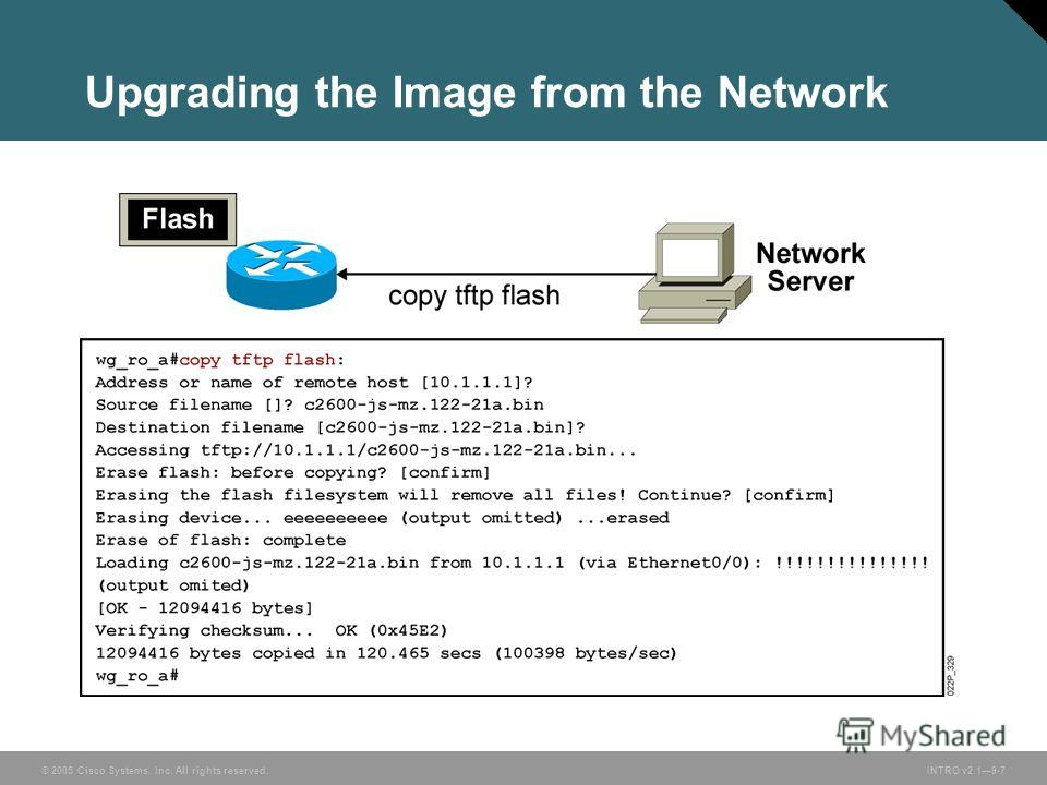 © 2005 Cisco Systems, Inc. All rights reserved.INTRO v2.19-7 Upgrading the Image from the Network