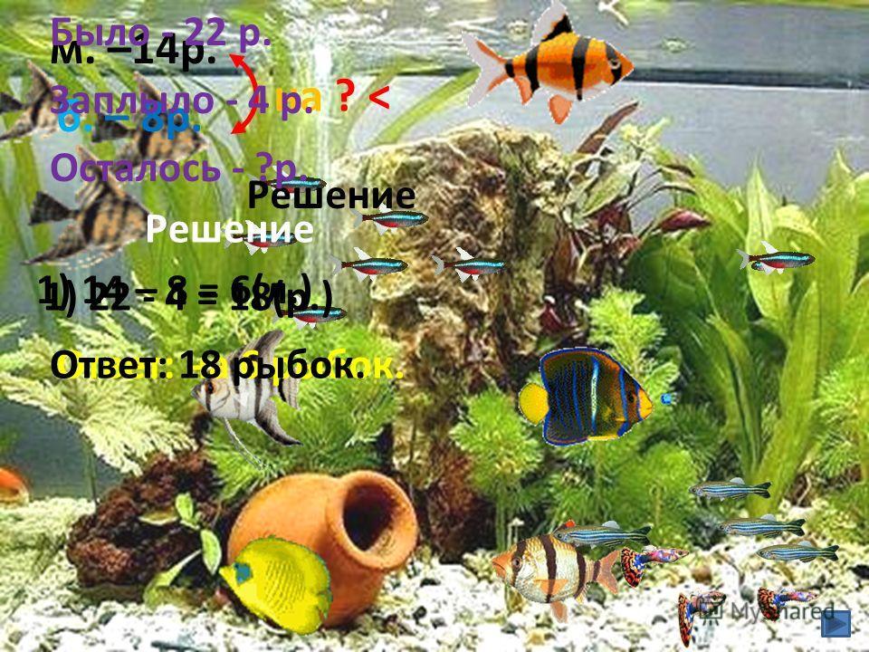 м. –14 р. б. – 8 р. на ? < Решение 1) 14 – 8 = 6(л.) Ответ: на 6 рыбок. Было - 22 р. Заплыло - 4 р. Осталось - ?р. Решение 1) 22 - 4 = 18(р.) Ответ: 18 рыбок.