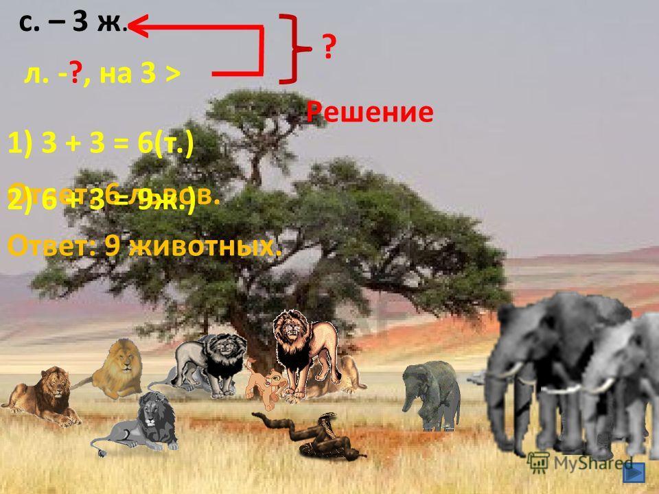 с. – 3 ж. л. -?, на 3 > < Решение 1) 3 + 3 = 6(т.) Ответ: 6 львов. ? 2) 6 + 3 = 9 ж.) Ответ: 9 животных.