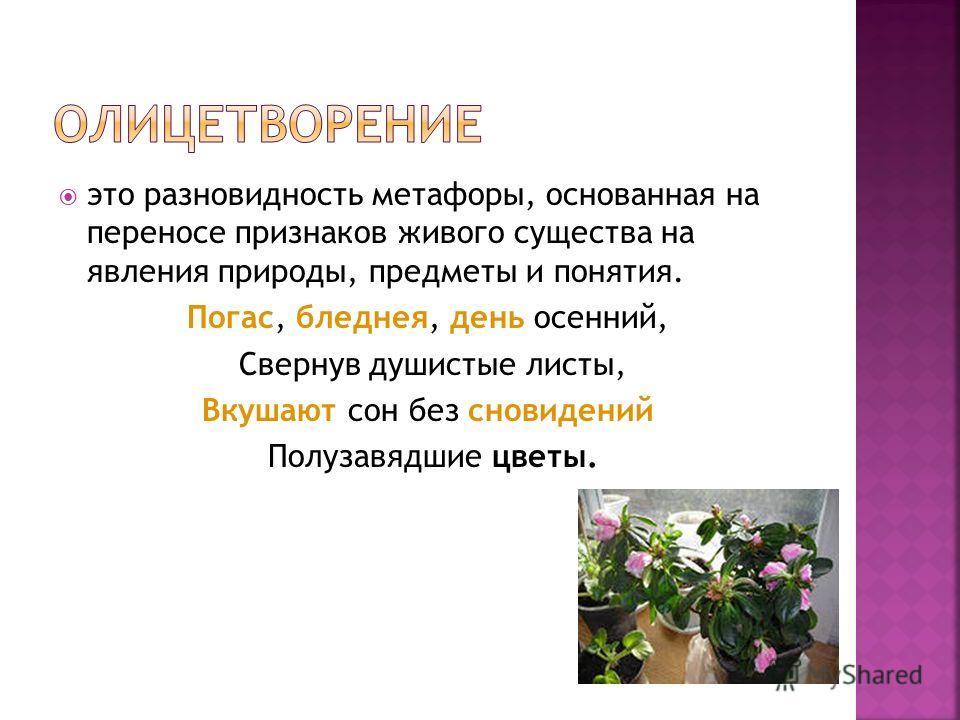 это разновидность метафоры, основанная на переносе признаков живого существа на явления природы, предметы и понятия. Погас, бледнея, день осенний, Свернув душистые листы, Вкушают сон без сновидений Полузавядшие цветы.