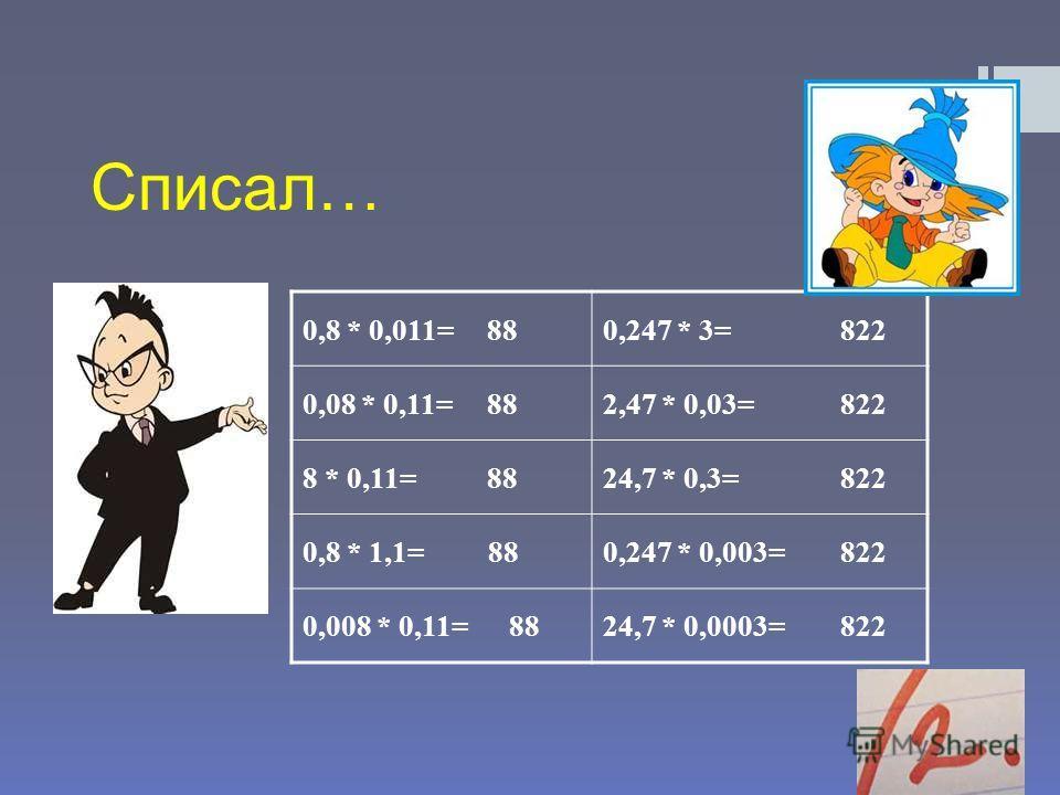 Списал… 0,8 * 0,011= 880,247 * 3= 822 0,08 * 0,11= 882,47 * 0,03= 822 8 * 0,11= 8824,7 * 0,3= 822 0,8 * 1,1= 880,247 * 0,003= 822 0,008 * 0,11= 8824,7 * 0,0003= 822