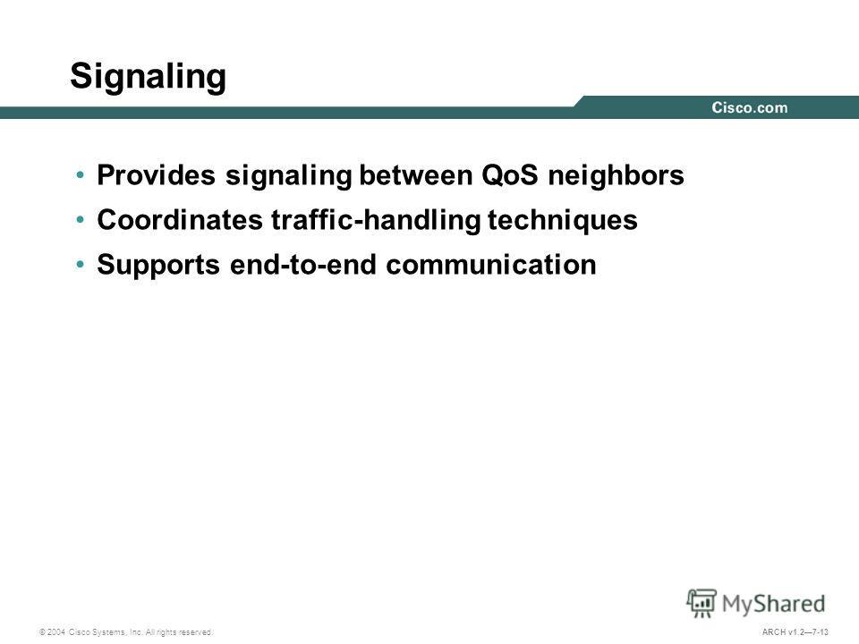 © 2004 Cisco Systems, Inc. All rights reserved. ARCH v1.27-13 Signaling Provides signaling between QoS neighbors Coordinates traffic-handling techniques Supports end-to-end communication
