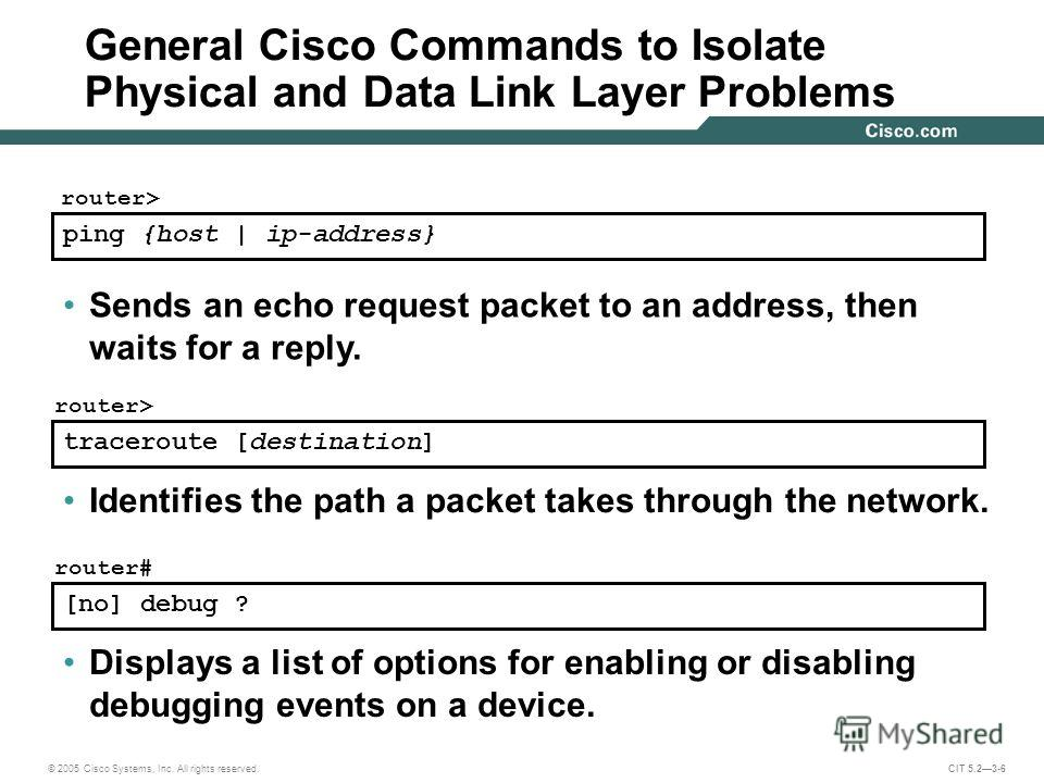 © 2005 Cisco Systems, Inc. All rights reserved. CIT 5.23-6 traceroute [destination] router> Identifies the path a packet takes through the network. [no] debug ? router# Displays a list of options for enabling or disabling debugging events on a device