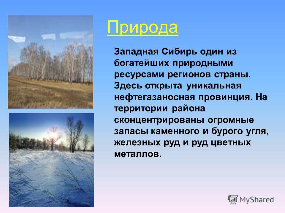 Природа Западная Сибирь один из богатейших природными ресурсами регионов страны. Здесь открыта уникальная нефтегазоносная провинция. На территории района сконцентрированы огромные запасы каменного и бурого угля, железных руд и руд цветных металлов.