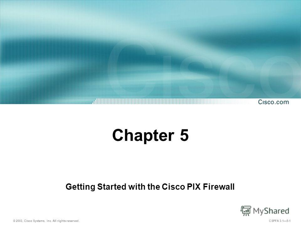 © 2003, Cisco Systems, Inc. All rights reserved. CSPFA 3.15-1 Chapter 5 Getting Started with the Cisco PIX Firewall