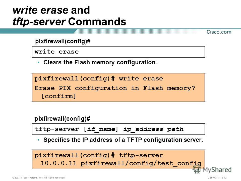 © 2003, Cisco Systems, Inc. All rights reserved. CSPFA 3.15-12 write erase and tftp-server Commands pixfirewall(config)# write erase Clears the Flash memory configuration. tftp-server [if_name] ip_address path pixfirewall(config)# Specifies the IP ad