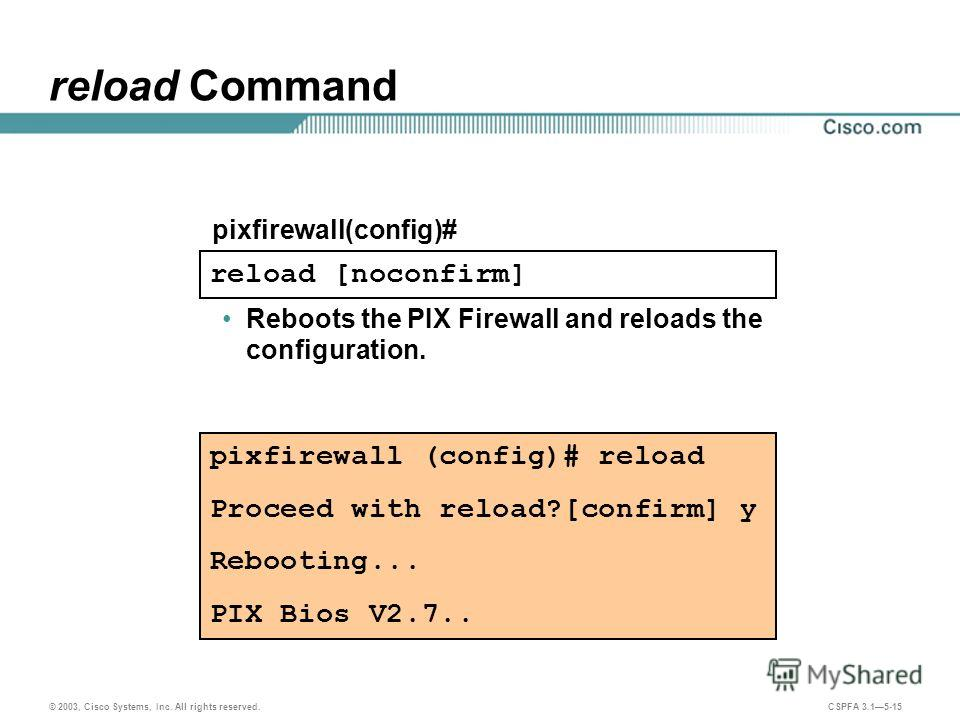 © 2003, Cisco Systems, Inc. All rights reserved. CSPFA 3.15-15 reload Command Reboots the PIX Firewall and reloads the configuration. pixfirewall (config)# reload Proceed with reload?[confirm] y Rebooting... PIX Bios V2.7.. reload [noconfirm] pixfire