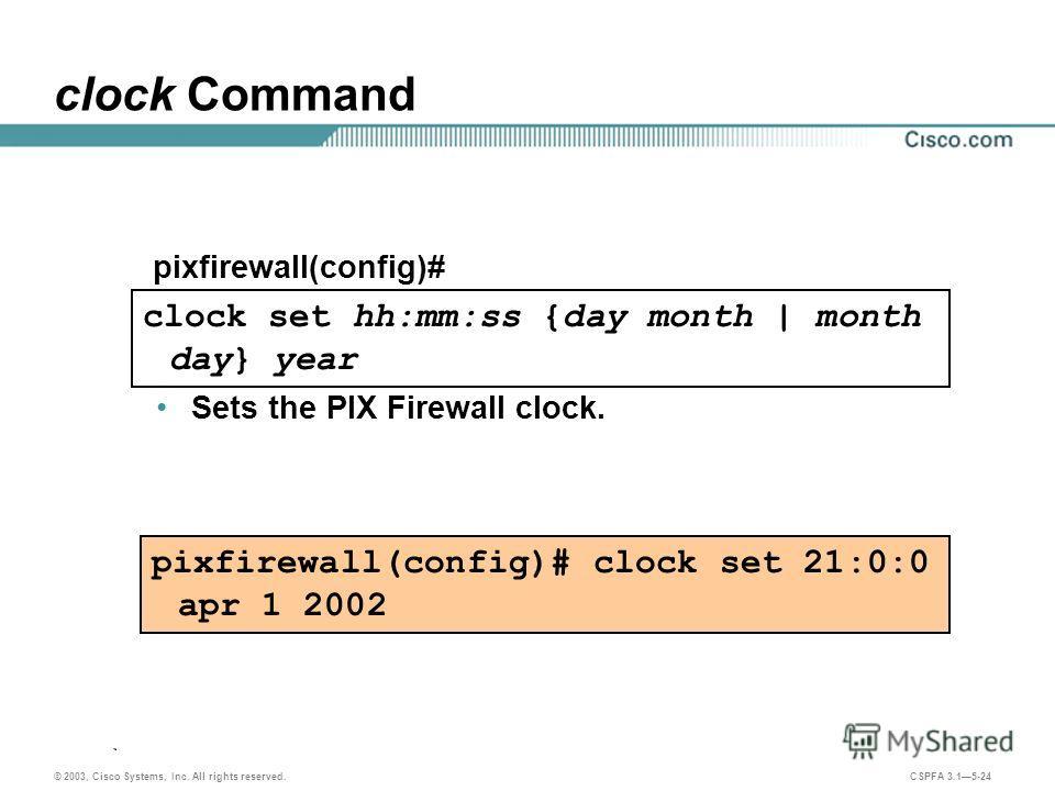© 2003, Cisco Systems, Inc. All rights reserved. CSPFA 3.15-24 clock Command Sets the PIX Firewall clock. pixfirewall(config)# clock set 21:0:0 apr 1 2002 clock set hh:mm:ss {day month | month day} year pixfirewall(config)#