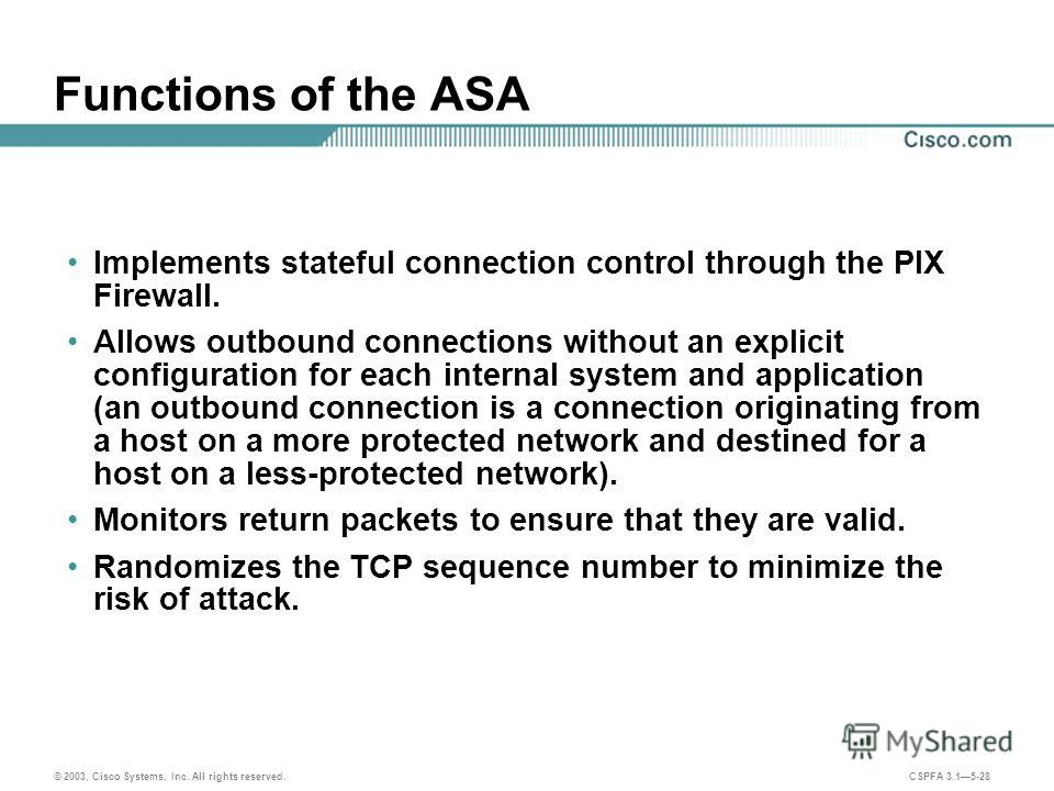 © 2003, Cisco Systems, Inc. All rights reserved. CSPFA 3.15-28 Functions of the ASA Implements stateful connection control through the PIX Firewall. Allows outbound connections without an explicit configuration for each internal system and applicatio