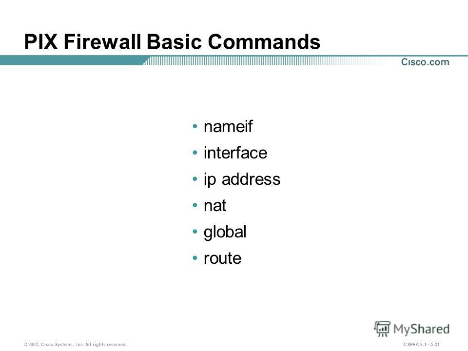 © 2003, Cisco Systems, Inc. All rights reserved. CSPFA 3.15-31 PIX Firewall Basic Commands nameif interface ip address nat global route