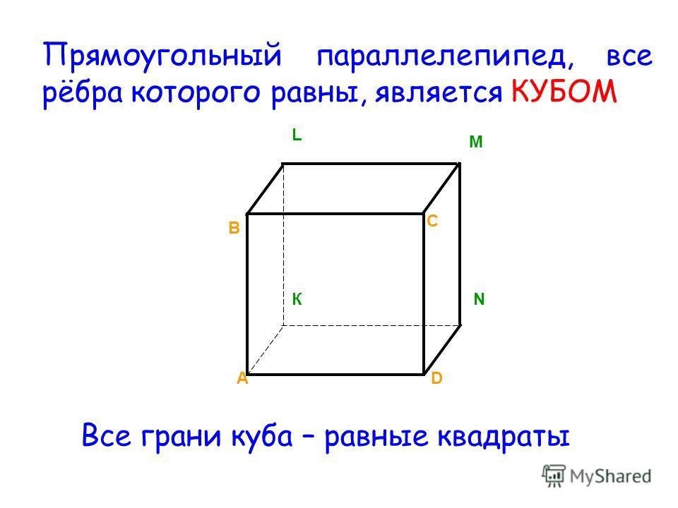 А В С D К L M N Прямоугольный параллелепипед, все рёбра которого равны, является КУБОМ Все грани куба – равные квадраты