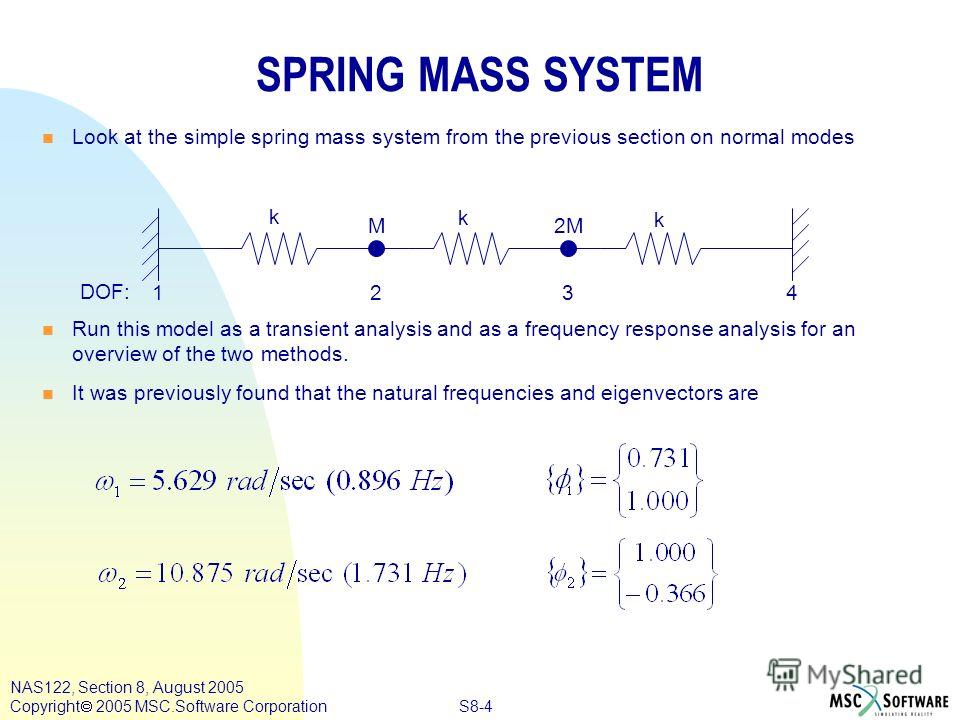S8-4 NAS122, Section 8, August 2005 Copyright 2005 MSC.Software Corporation n n Look at the simple spring mass system from the previous section on normal modes n n Run this model as a transient analysis and as a frequency response analysis for an ove