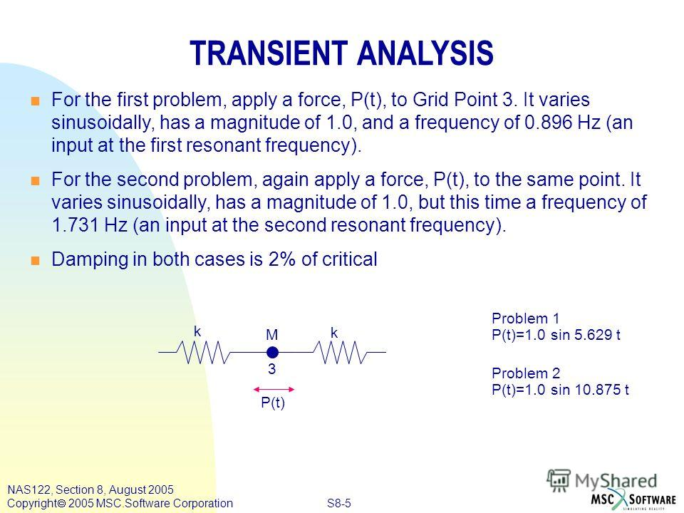 S8-5 NAS122, Section 8, August 2005 Copyright 2005 MSC.Software Corporation Problem 1 P(t)=1.0 sin 5.629 t Problem 2 P(t)=1.0 sin 10.875 t TRANSIENT ANALYSIS n n For the first problem, apply a force, P(t), to Grid Point 3. It varies sinusoidally, has