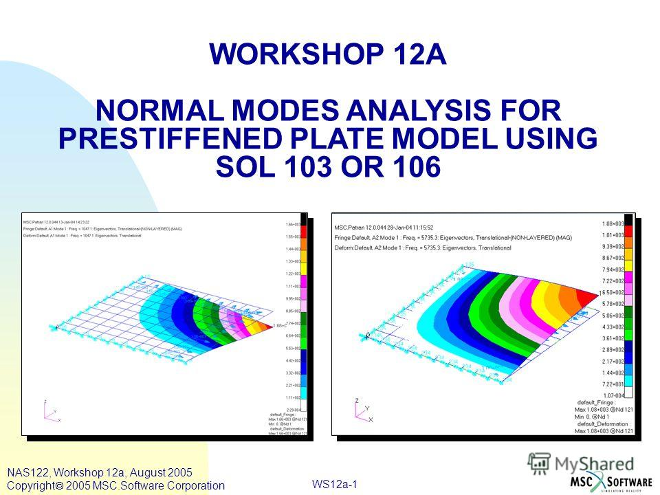 WS12a-1 WORKSHOP 12A NORMAL MODES ANALYSIS FOR PRESTIFFENED PLATE MODEL USING SOL 103 OR 106 NAS122, Workshop 12a, August 2005 Copyright 2005 MSC.Software Corporation