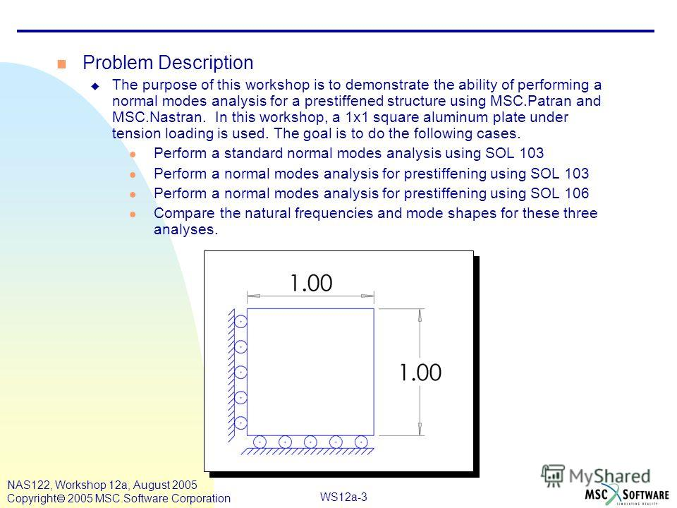 WS12a-3 NAS122, Workshop 12a, August 2005 Copyright 2005 MSC.Software Corporation n Problem Description u The purpose of this workshop is to demonstrate the ability of performing a normal modes analysis for a prestiffened structure using MSC.Patran a