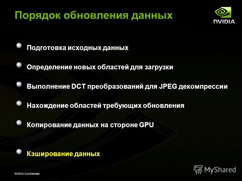 NVIDIA Confidential Порядок обновления данных Подготовка исходных данных Определение новых областей для загрузки Выполнение DCT преобразований для JPEG декомпрессии Нахождение областей требующих обновления Копирование данных на стороне GPU Кэшировани