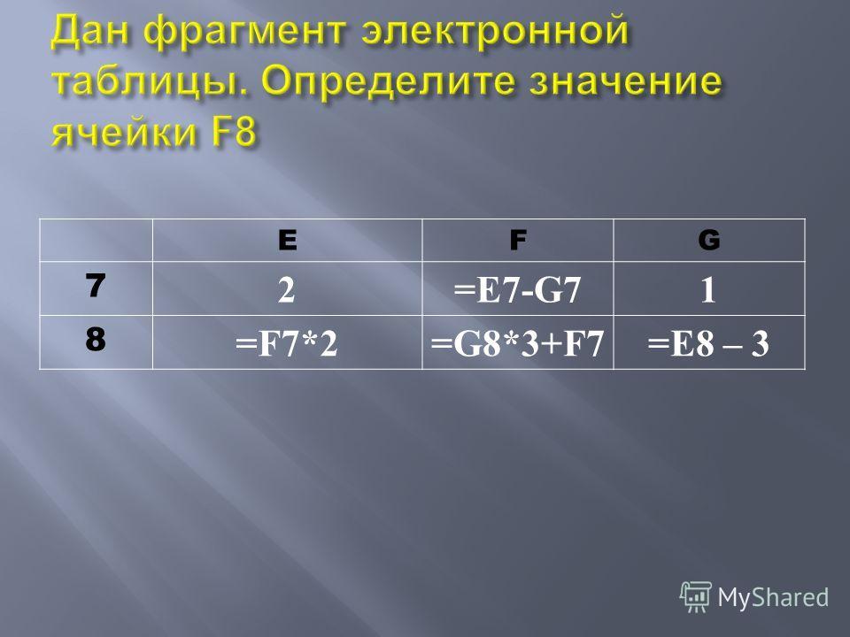 EFG 7 2=E7-G71 8 =F7*2=G8*3+F7=E8 – 3