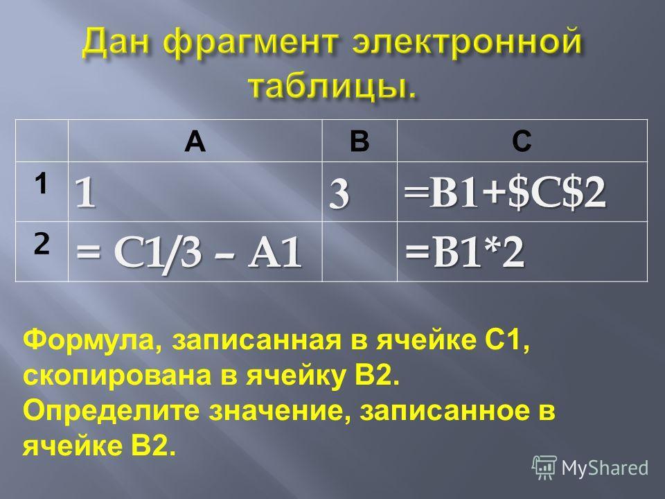 АВС 113 = В 1+$C$2 2 = C1/3 – A1 =B1*2 Формула, записанная в ячейке С 1, скопирована в ячейку В 2. Определите значение, записанное в ячейке В 2.
