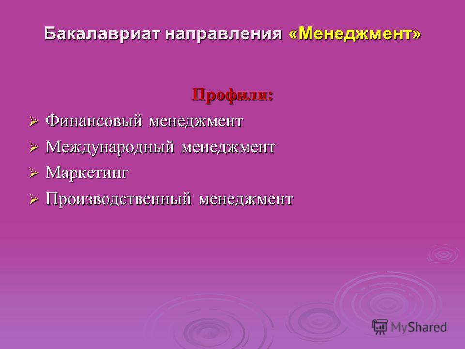 Бакалавриат направления « Менеджмент » Профили : Финансовый менеджмент Финансовый менеджмент Международный менеджмент Международный менеджмент Маркетинг Маркетинг Производственный менеджмент Производственный менеджмент