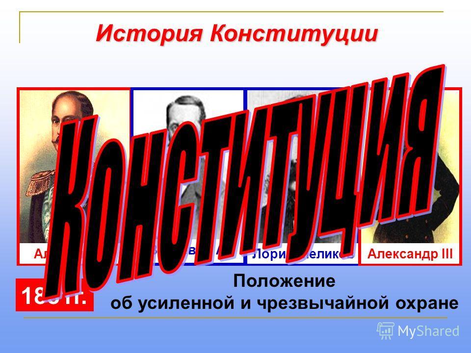История Конституции Александр II Валуев П. А. Лорис-Меликов 1881 г. Александр III Положение об усиленной и чрезвычайной охране