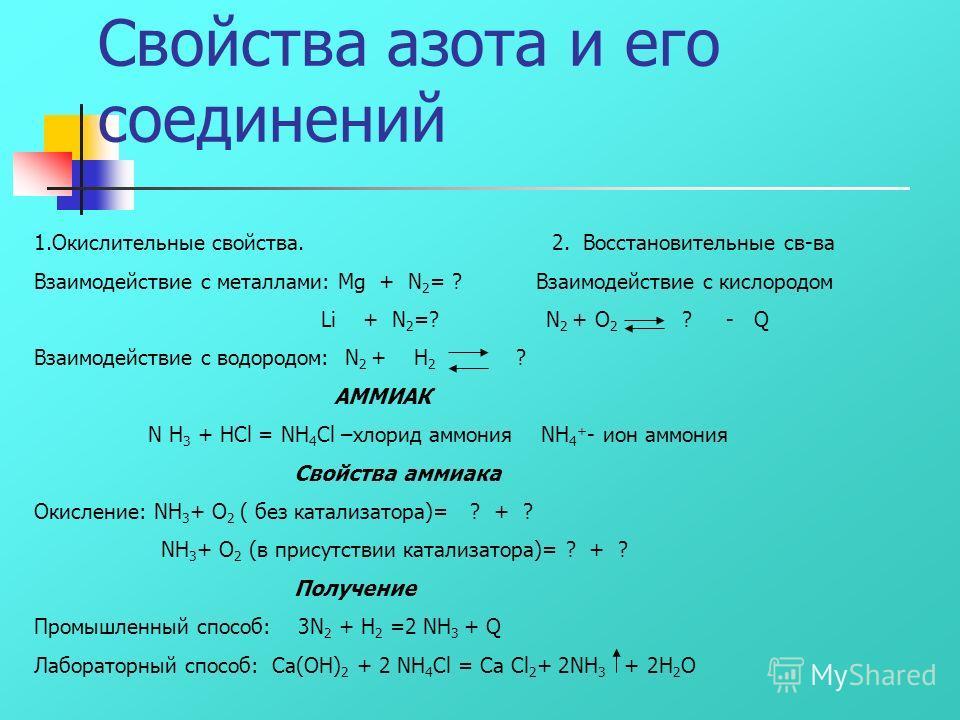 Подгруппа азота В V группе,главной подгруппе находятся следующие элементы: азот, фосфор мышьяк, сурьма и висмут. Азот – первый представитель главной подгруппы V группы Периодической системы. Какой вид химической связи в молекуле азота? Сколько общих