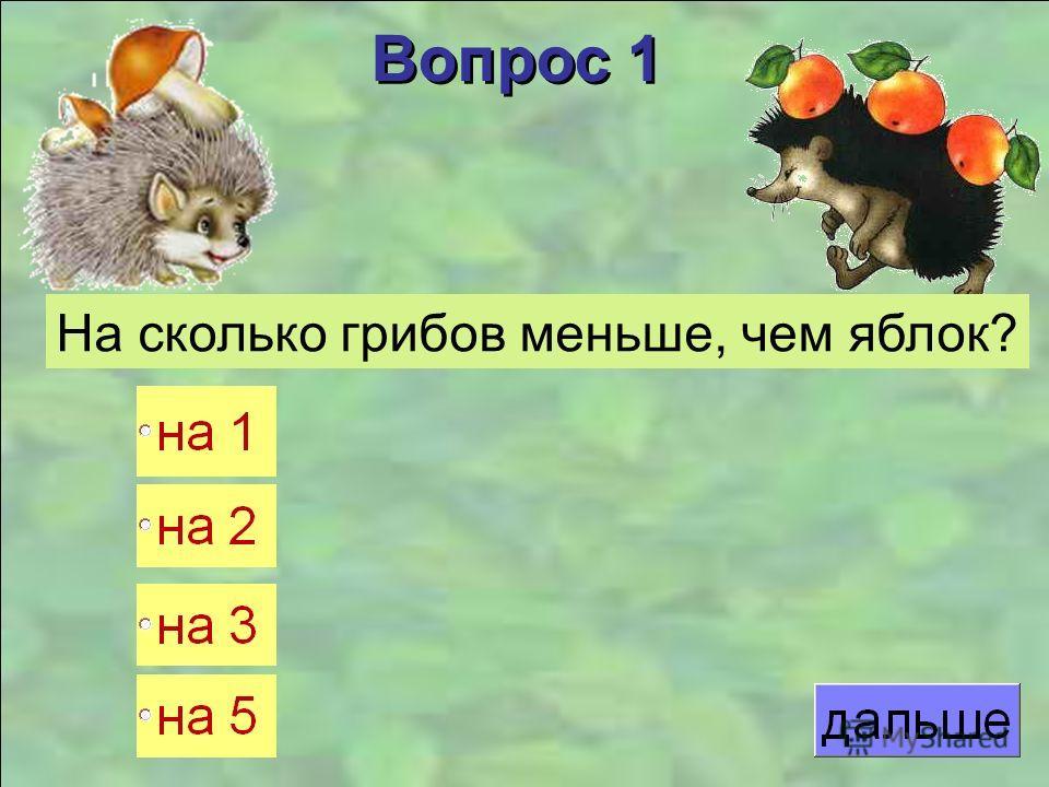Вопрос 1 На сколько грибов меньше, чем яблок?