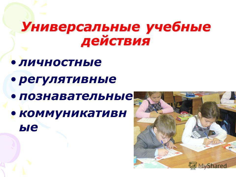 Универсальные учебные действия личностные регулятивные познавательные коммуникативные