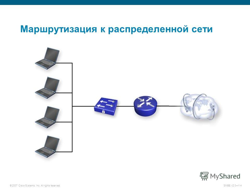© 2007 Cisco Systems, Inc. All rights reserved. SMBE v2.01-4 Маршрутизация к распределенной сети