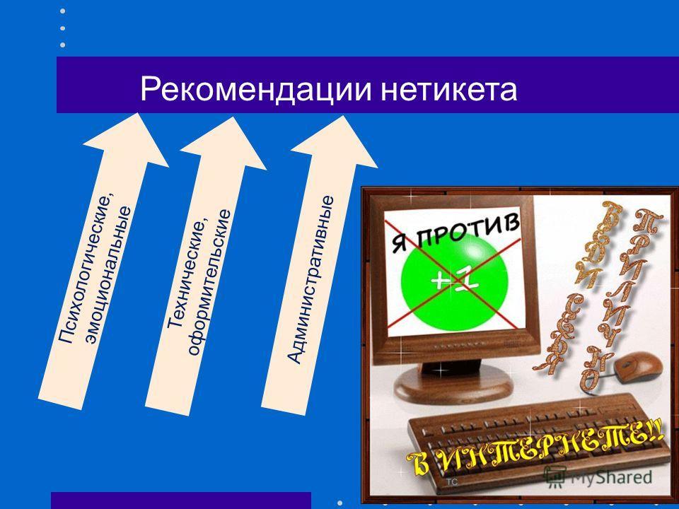 Рекомендации нетикета Психологические, эмоциональные Технические, оформительские Административные