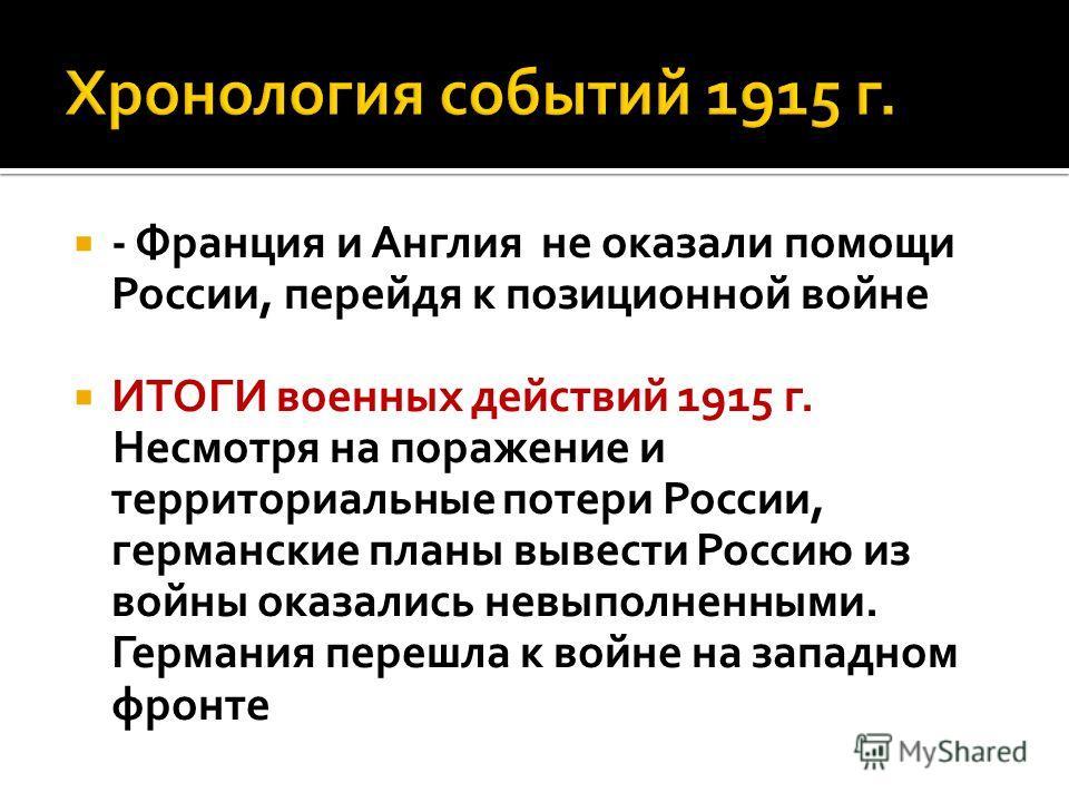 - Франция и Англия не оказали помощи России, перейдя к позиционной войне ИТОГИ военных действий 1915 г. Несмотря на поражение и территориальные потери России, германские планы вывести Россию из войны оказались невыполненными. Германия перешла к войне