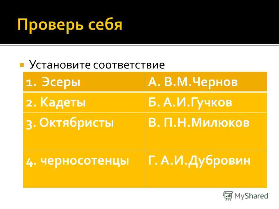Установите соответствие 1.ЭсерыА. В.М.Чернов 2. КадетыБ. А.И.Гучков 3. ОктябристыВ. П.Н.Милюков 4. черносотенцыГ. А.И.Дубровин