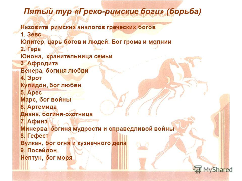 Пятый тур «Греко-римские боги» (борьба) Назовите римских аналогов греческих богов 1. Зевс Юпитер, царь богов и людей. Бог грома и молнии 2. Гера Юнона, хранительница семьи 3. Афродита Венера, богиня любви 4. Эрот Купидон, бог любви 5. Арес Марс, бог