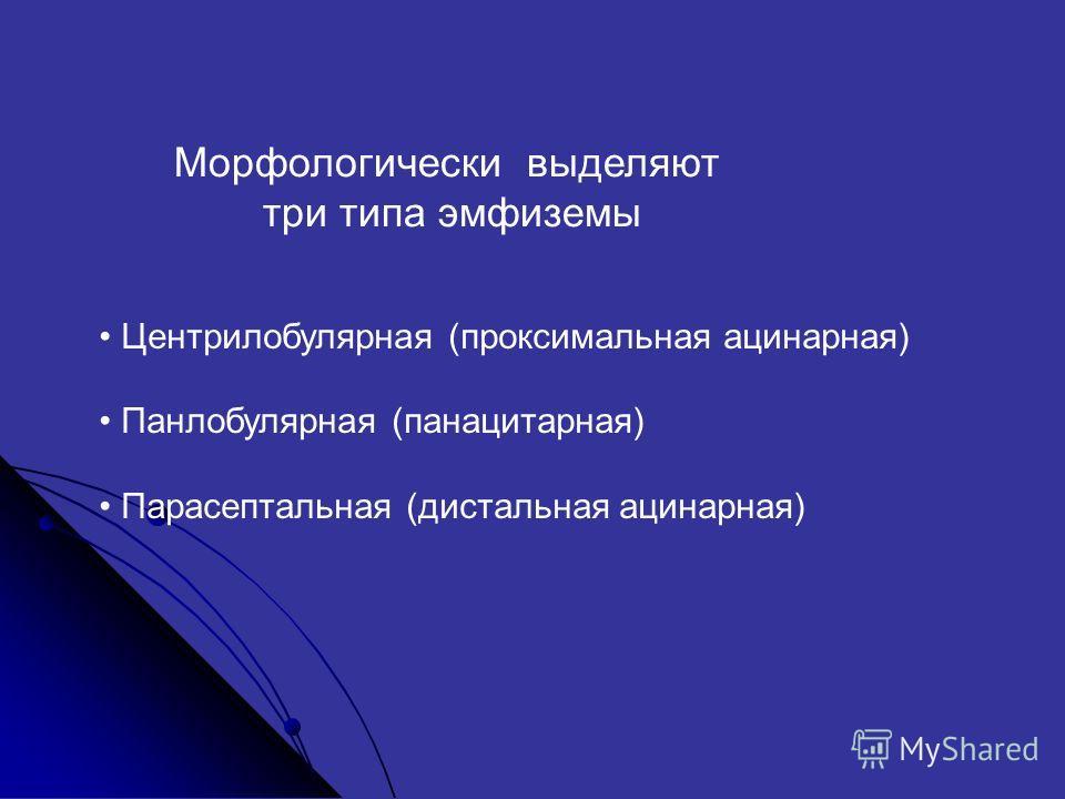 Морфологически выделяют три типа эмфиземы Центрилобулярная (проксимальная ацинарная) Панлобулярная (панацитарная) Парасептальная (дистальная ацинарная)