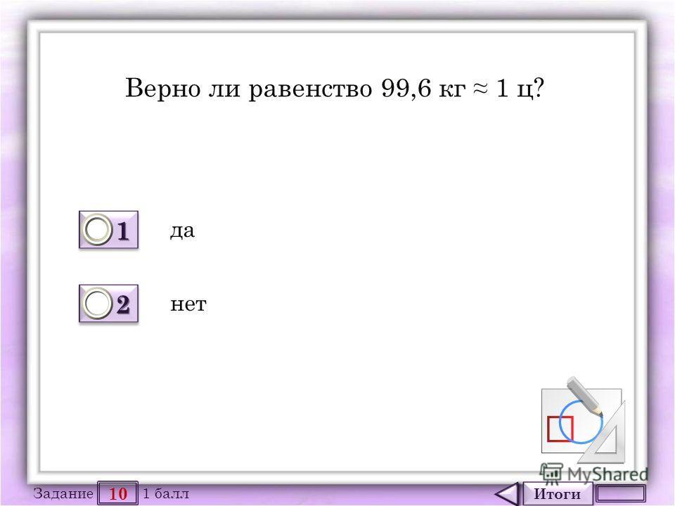 Итоги 10 Задание 1 балл 1111 1111 2222 2222 Верно ли равенство 99,6 кг 1 ц? да нет