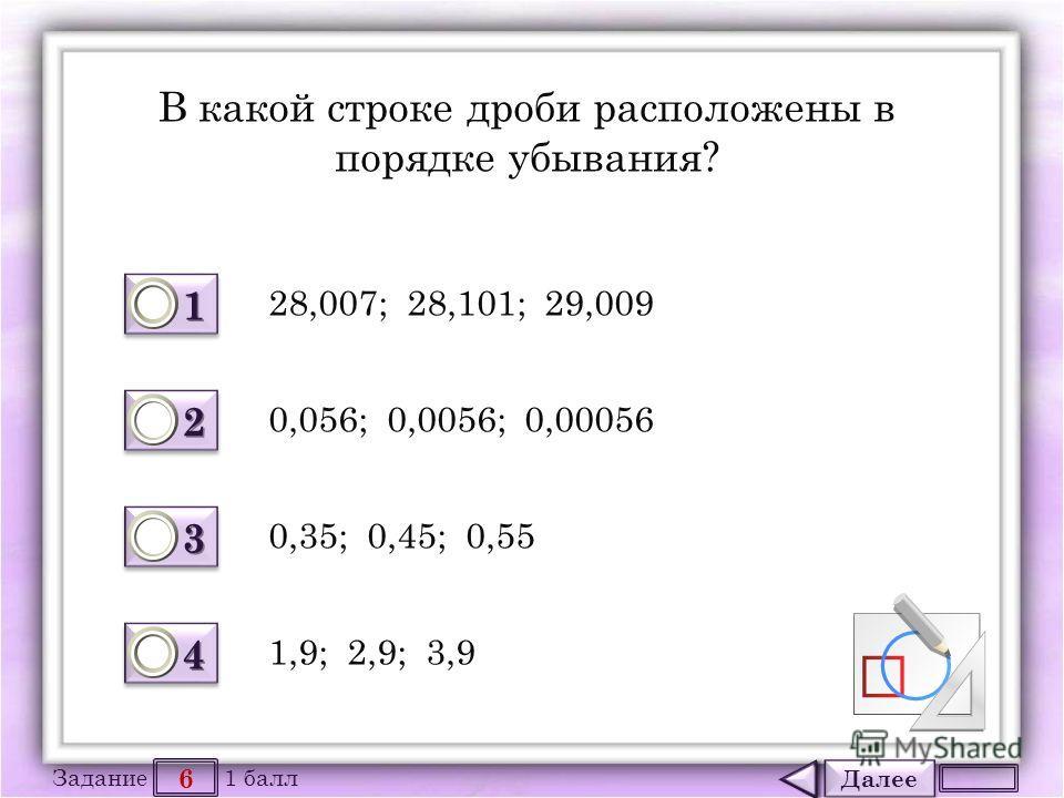 Далее 6 Задание 1 балл 1111 1111 2222 2222 3333 3333 4444 4444 В какой строке дроби расположены в порядке убывания? 28,007; 28,101; 29,009 0,35; 0,45; 0,55 0,056; 0,0056; 0,00056 1,9; 2,9; 3,9