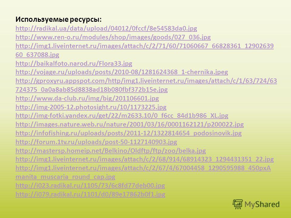 Используемые ресурсы: http://radikal.ua/data/upload/04012/0fccf/8e54583da0. jpg http://www.ren-o.ru/modules/shop/images/goods/027_036. jpg http://img1.liveinternet.ru/images/attach/c/2/71/60/71060667_66828361_12902639 60_637088. jpg http://baikalfoto