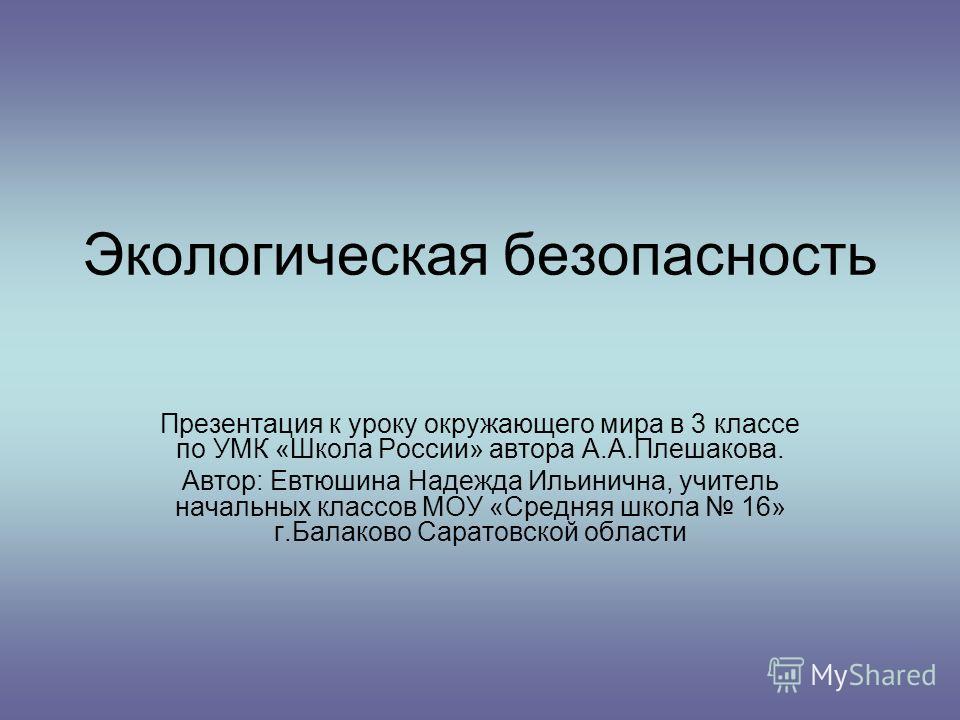 Доклад на тему экологическая безопасность россии 8951