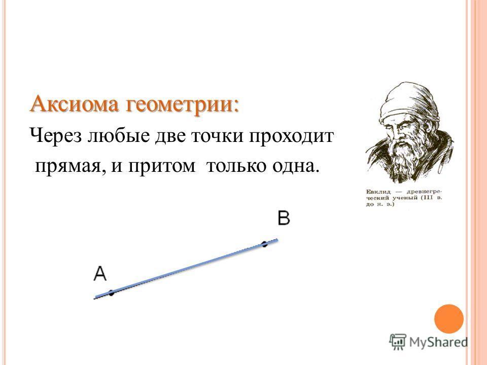 Аксиома геометрии: Через любые две точки проходит прямая, и притом только одна.