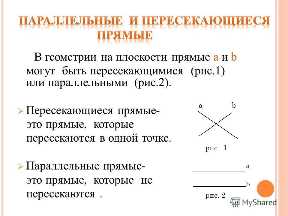 В геометрии на плоскости прямые а и b могут быть пересекающимися (рис.1) или параллельными (рис.2). Пересекающиеся прямые- это прямые, которые пересекаются в одной точке. Параллельные прямые- это прямые, которые не пересекаются. а а b b рис. 1 рис. 2