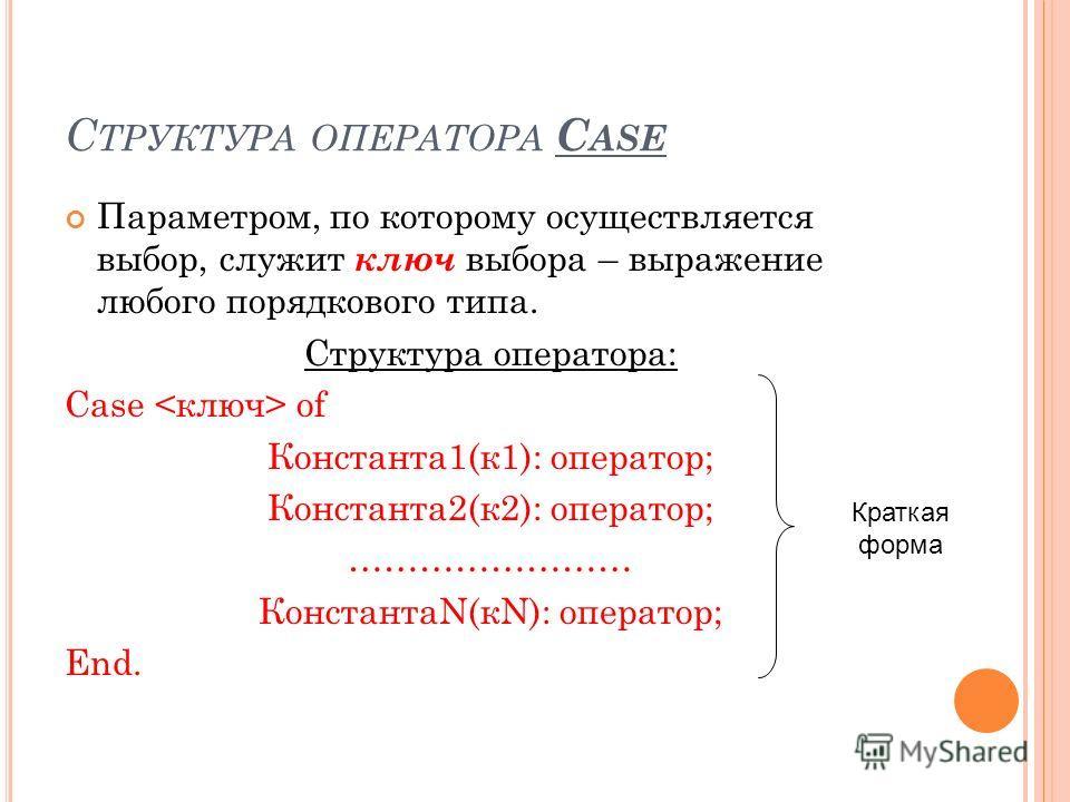 С ТРУКТУРА ОПЕРАТОРА C ASE Параметром, по которому осуществляется выбор, служит ключ выбора – выражение любого порядкового типа. Структура оператора: Case of Константа 1(к 1): оператор; Константа 2(к 2): оператор; …………………… КонстантаN(кN): оператор; E
