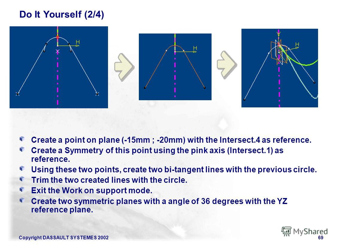 Copyright DASSAULT SYSTEMES 200269 Do It Yourself (2/4) Create a point on plane (-15mm ; -20mm) with the Intersect.4 as reference. Create a Symmetry of this point using the pink axis (Intersect.1) as reference. Using these two points, create two bi-t