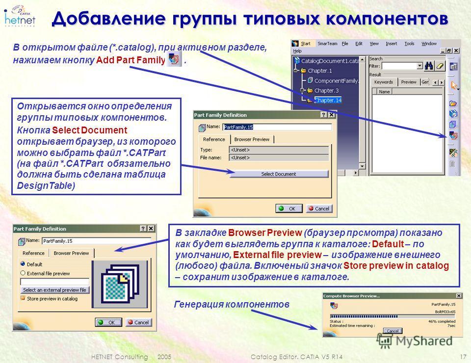 HETNET Consulting 2005 Catalog Editor. CATIA V5 R14 17 Добавление группы типовых компонентов В открытом файле (*.catalog), при активном разделе, нажимаем кнопку Add Part Family. В закладке Browser Preview (браузер просмотра) показано как будет выгляд