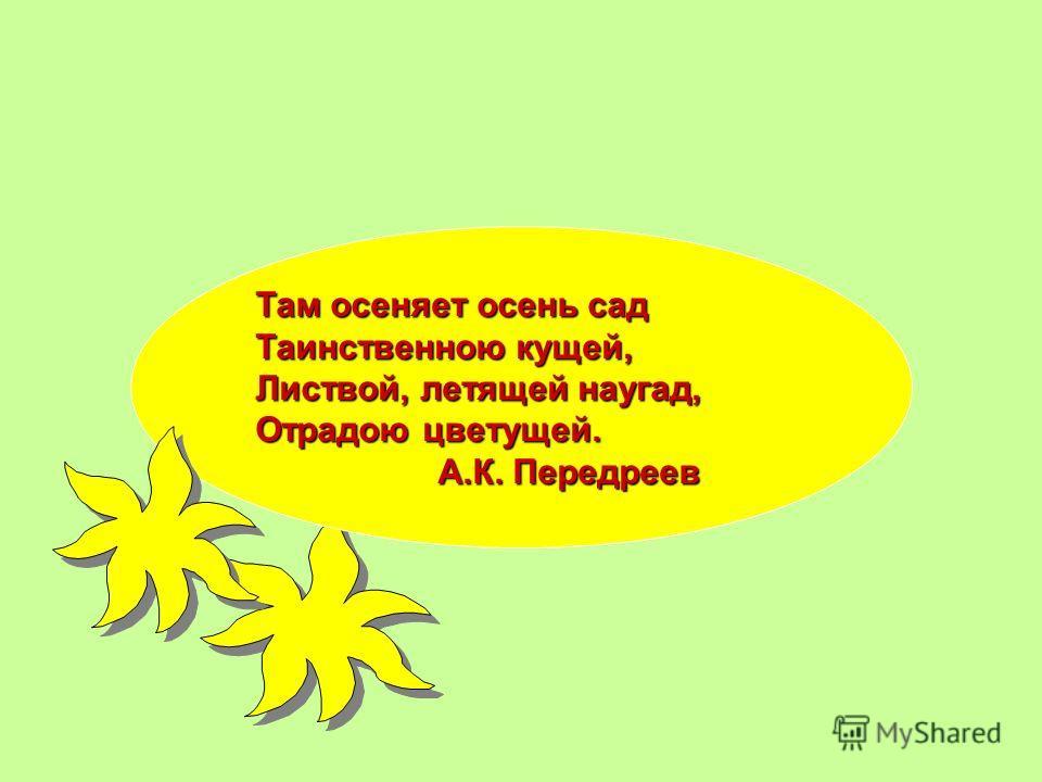 Там осеняет осень сад Таинственою кущей, Листвой, летящей наугад, Отрадою цветущей. А.К. Передреев А.К. Передреев