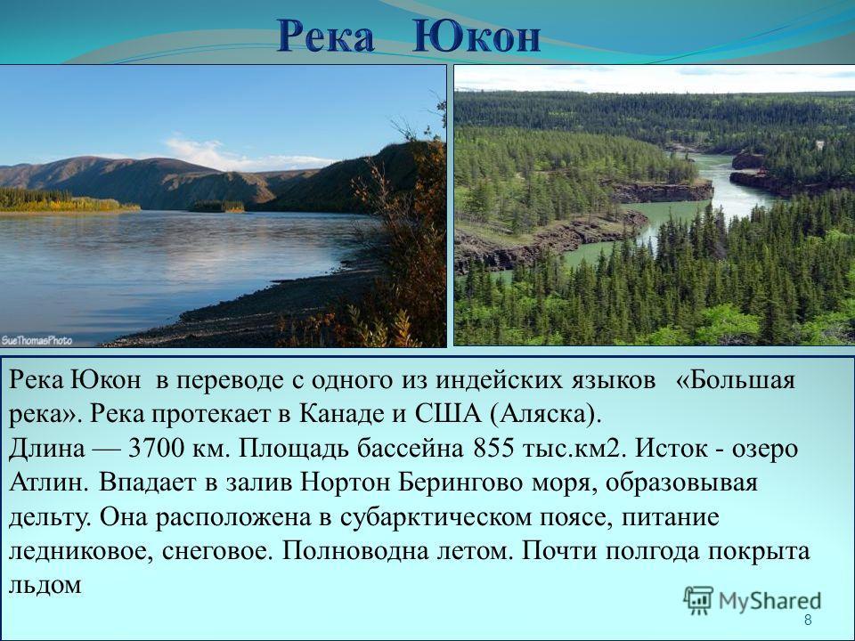 Река Юкон в переводе с одного из индейских языков «Большая река». Река протекает в Канаде и США (Аляска). Длина 3700 км. Площадь бассейна 855 тыс.км 2. Исток - озеро Атлин. Впадает в залив Нортон Берингово моря, образовывая дельту. Она расположена в