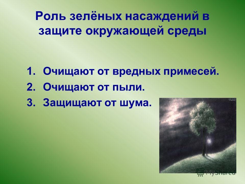 Роль зелёных насаждений в защите окружающей среды 1. Очищают от вредных примесей. 2. Очищают от пыли. 3. Защищают от шума.