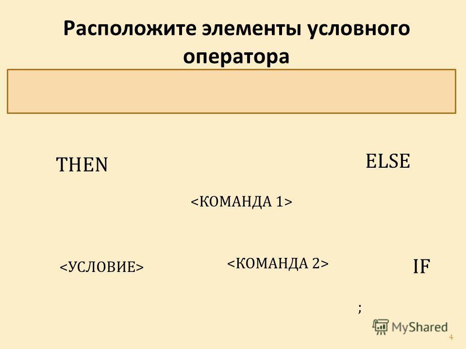 Расположите элементы условного оператора в правильном порядке IF THEN ELSE ; 4