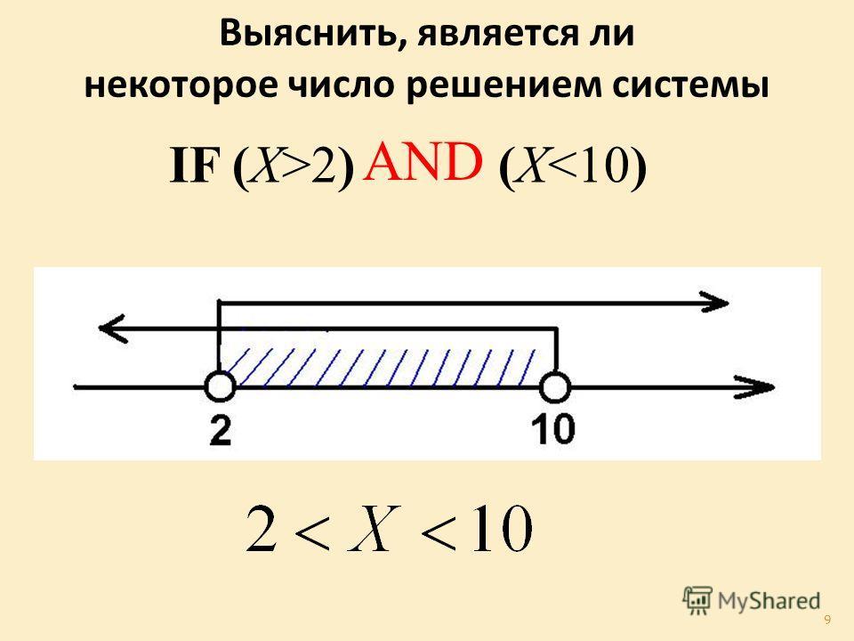 Выяснить, является ли некоторое число решением системы IF (X>2) (X