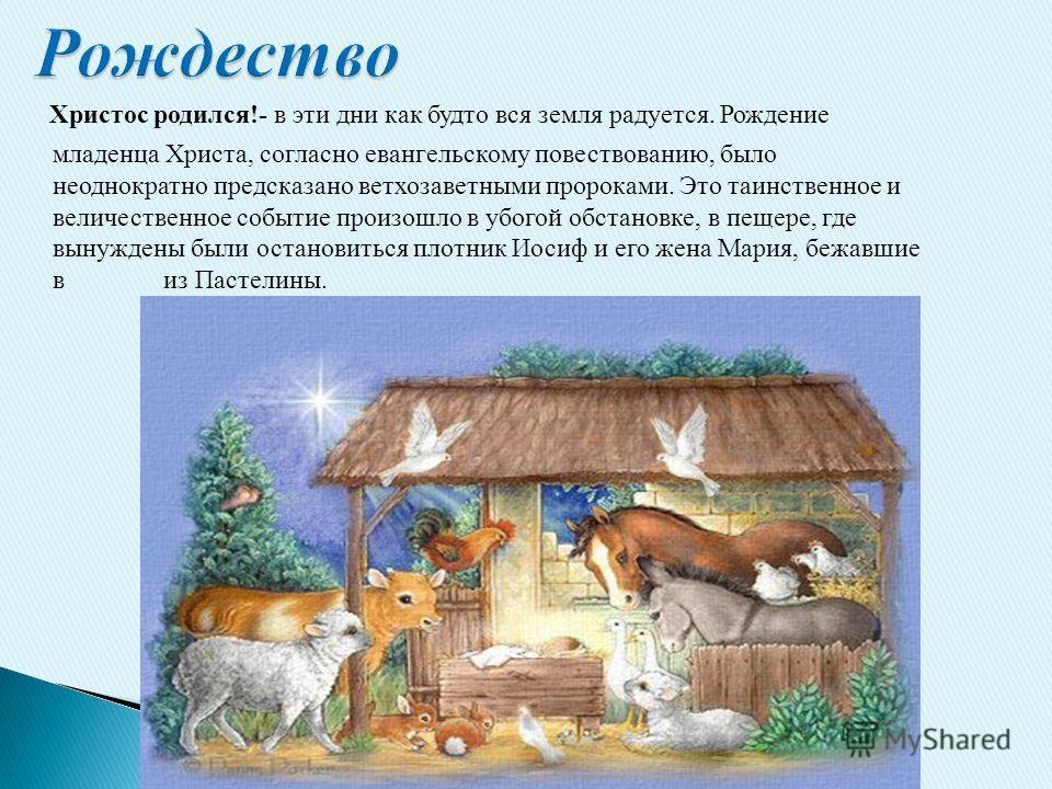 Христос родился!- в эти дни как будто вся земля радуется. Рождение младенца Христа, согласно евангельскому повествованию, было неоднократно предсказано ветхозаветными пророками. Это таинственное и величественное событие произошло в убогой обстановке,
