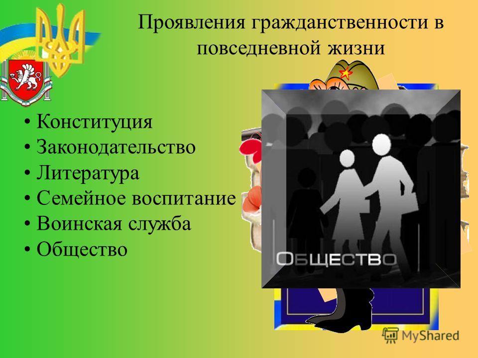 Проявления гражданственности в повседневной жизни Конституция Законодательство Литература Семейное воспитание Воинская служба Общество