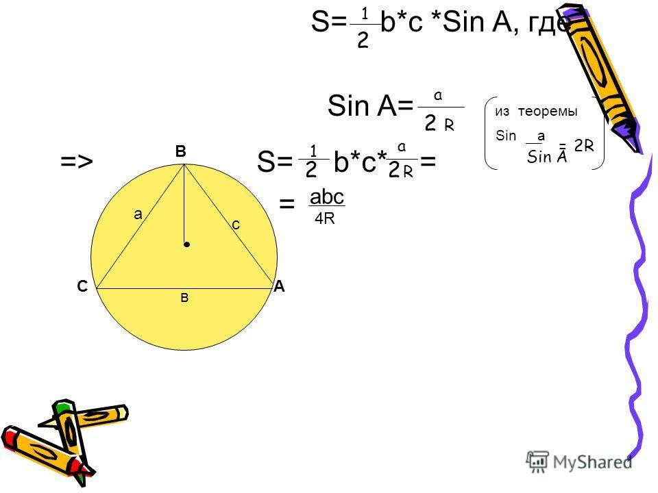 S= b*с *Sin А, где Sin A= из теоремы Sin a => S= b*с* = = А в а с С В 2 1 a 2 R Sin A =2R 1 2 a R 2 аbсаbс 4R4R
